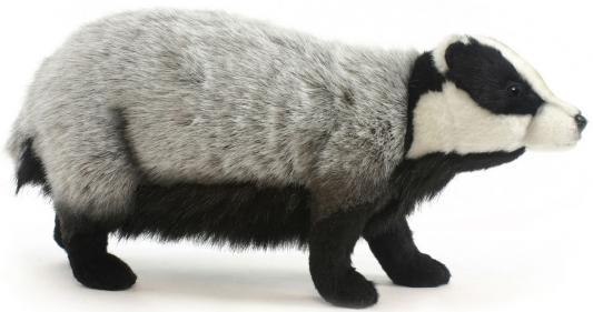 Купить Мягкая игрушка барсук Hansa Барсук европейский 5574 искусственный мех текстиль пластик серый черный белый, белый, серый, черный, искусственный мех, пластик, текстиль, Животные