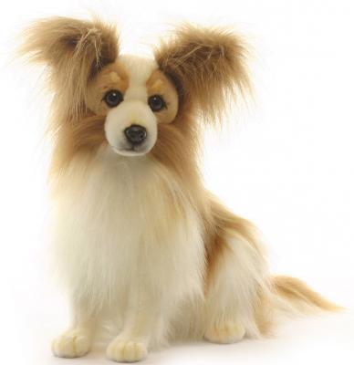 Купить Мягкая игрушка собака Hansa породы папийон искусственный мех коричневый 41 см 3993, Животные
