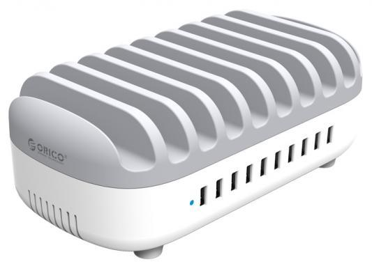 Сетевое зарядное устройство Orico DUK-10P-WH USB 2.4А серый сетевое зарядное устройство orico dcap 5s wh 5 usb 8a белое