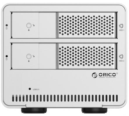 Внешний контейнер для HDD 2x3.5 SATA Orico 9528U3 USB3.0 серебристый корпус для hdd orico 9528u3 2 3 5 ii iii hdd hd 20 usb3 0 5
