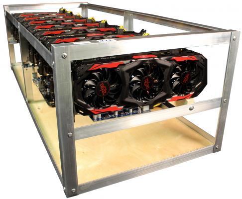 Персональный компьютер / ферма 8192Mb PowerColor RX 580 x6 /Intel Celeron G3900 2.8GHz / ASUS Z170-E / DDR4 4Gb PC4-17000 2133MHz / SSD 64Gb / Chieftec CPS-650S x3 (№69/71/72)