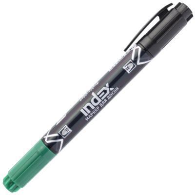 Маркер для доски Index двуцветный, двусторонний черный зеленый IMW101/BK-GN