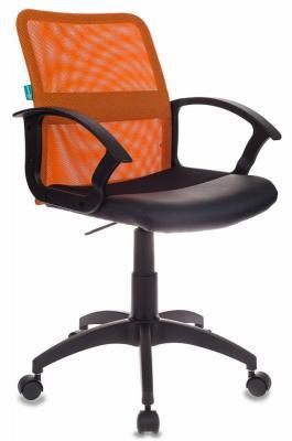 Кресло Бюрократ CH-590/OR/BLACK искусственная кожа спинка сетка оранжевый сиденье черный кресло бюрократ ch 590 на колесиках искусственная кожа оранжевый [ch 590 or black]