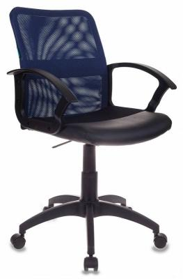 Кресло Бюрократ CH-590/BL/BLACK искусственная кожа спинка сетка синий сиденье черный фото