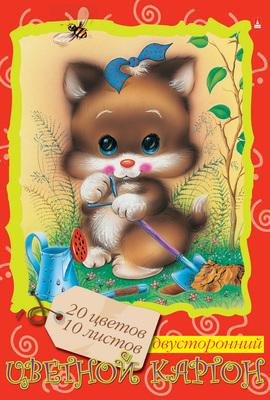 Набор цветного картона Альт Мультики A4 10 листов 100399 в ассортименте