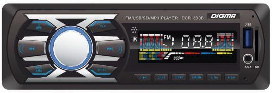 Автомагнитола Digma DCR-300B USB MP3 FM 1DIN 4x45Вт черный