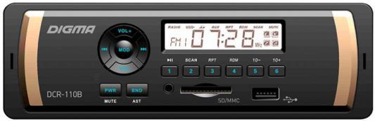 Автомагнитола Digma DCR-110B USB MP3 FM 1DIN 4x45Вт черный автомагнитола kenwood kmm 103gy usb mp3 fm 1din 4х50вт черный