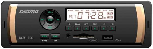 Автомагнитола Digma DCR-100G USB MP3 FM 1DIN 4x45Вт черный автомагнитола digma dcr 420r usb mp3 fm 1din 4x45вт черный
