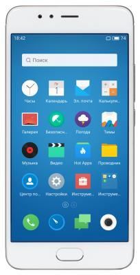 Смартфон Meizu M5s 16 Гб серебристый белый M612H_16GB_Silver meizu meilan e 3gb 32gb смартфон