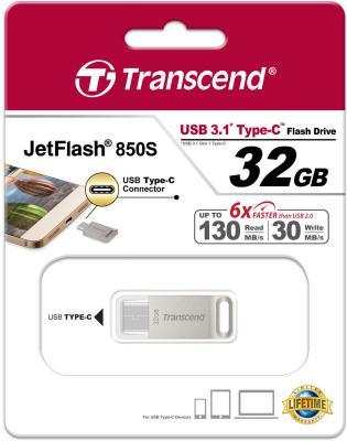 Флешка USB 32Gb Transcend JetFlash 850 OTG TS32GJF850S серебристый от 123.ru