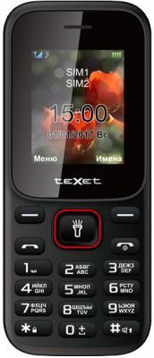 """все цены на Мобильный телефон Texet TM-128 черный красный 1.77"""" онлайн"""