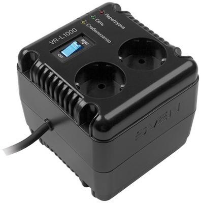 Стабилизатор напряжения Sven VR-L1000 1.5 м 2 розетки стабилизатор sven vr l1000 sv 014872