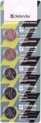 Батарейки Defender CR2025-5B CR2025 5 шт 56202 3v cr2025 cell button batteries 5 piece pack