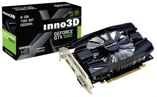 Видеокарта 6144Mb  Inno3D GeForce GTX 1060 Compact 2 PCI-E 192bit GDDR5 DVI HDMI DP N1060-6DDN-N5GM Retail