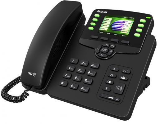 Телефон IP Akuvox SP-R63G 3 SIP-аккаунта 2x10/100/1000Mbps 2.8 LCD цветной PoE 3 files 2x10 foot band switch
