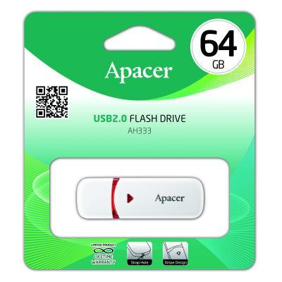 Флешка USB 64Gb Apacer AH333 AP64GAH333W-1 белый флешка usb 64gb apacer ah355 ap64gah355b 1 черный