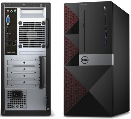Системный блок DELL Vostro 3667 i3-6100 3.7GHz 4Gb 1Tb GT710-2Gb DVD-RW Win7Pro Win10Pro клавиатура мышь черный 3667-7512