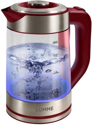 Чайник Lumme LU-133 2200 Вт красный гранат 2 л стекло чайник lumme lu 134 2200 вт черный жемчуг 2 л стекло
