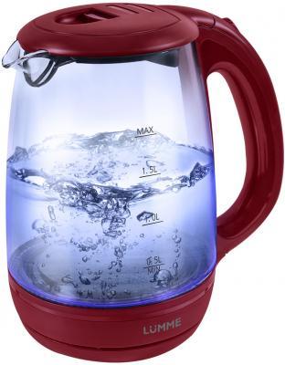 Чайник Lumme LU-134 2200 Вт красный гранат 2 л стекло чайник lumme lu 134 2200 вт черный жемчуг 2 л стекло