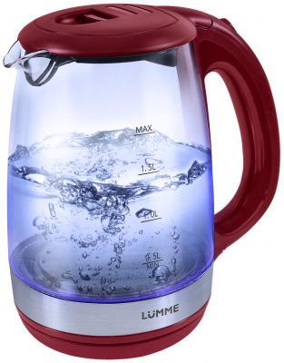 Чайник Lumme LU-135 2200 Вт красный гранат 2 л пластик/стекло lumme lu 1040