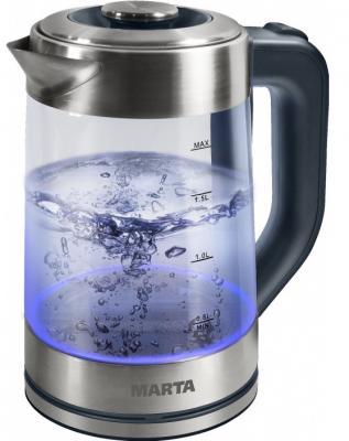 Чайник Marta MT-1086 2200 Вт серый 2 л металл/стекло набор столовых приборов marta mt 2701 twinkle