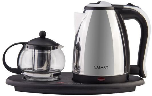 Чайный набор GALAXY GL0401 2000 Вт серебристый чёрный прозрачный 1.8 л металл/стекло цена в Москве и Питере