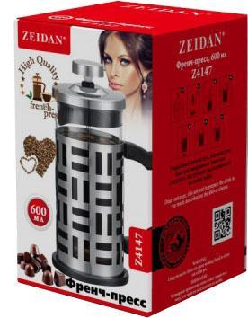 Френч-пресс Zeidan Z4147 серебристый чёрный 0.6 л металл/стекло от 123.ru