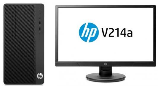 Системный блок HP Bundle 290 G1 i3-7100 3.9GHz 4Gb 500Gb DVD-RW Win10Pro черный + монитор V214 2MT24ES системный блок lenovo s200 mt j3710 4gb 500gb dvd rw dos клавиатура мышь черный 10hq001fru