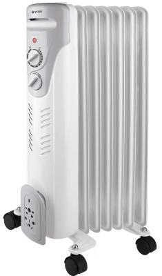 Масляный радиатор Vitek VT-1708(W) 1500 Вт термостат ручка для переноски колеса для перемещения белый цены