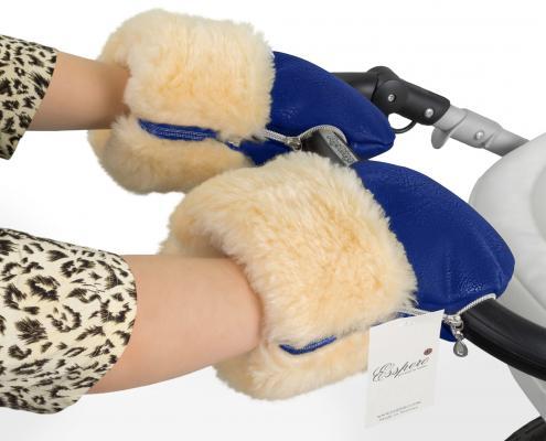 Муфта-рукавички для коляски Esspero Double Leatherette (натуральная шерсть/sky)