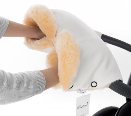 Муфта для рук на коляску Esspero Linda (100% овечья шерсть/white)