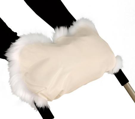 Муфта для рук на коляску Esspero Lit Leatherette (эко кожа/beige-white)