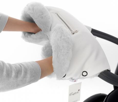 Муфта для рук на коляску Esspero Stella (100% овечья шерсть/white)