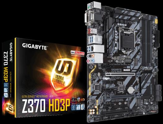 Материнская плата GigaByte Z370 HD3P Socket 1151 v2 Z370 4xDDR4 2xPCI-E 16x 1xPCI 4xPCI-E 1x 6 ATX Retail мат плата для пк asus e3 pro gaming v5 socket 1151 c232 4xddr4 2xpci e 16x 2xpci 2xpci e 1x 6xsataiii atx retail