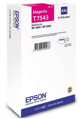 Картридж Epson C13T754340 для Epson WF-8090/8590 пурпурный картридж epson c13t754140 для epson wf 8090 epson wf 8590 черный