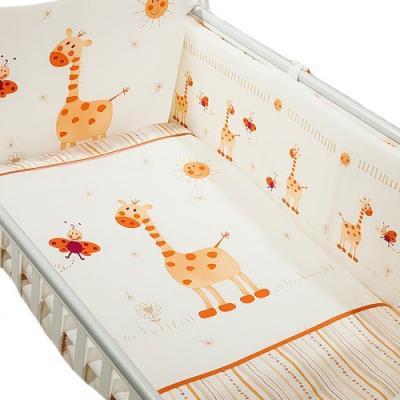 Сменное постельное белье 3 предмета Перина Кроха Жирафики (бежевый)