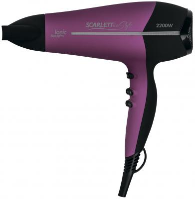 Фен Scarlett SC-HD70I16 фиолетовый чёрный соковыжималки электрические scarlett соковыжималка цитрусовая scarlett sc je50c03 90вт
