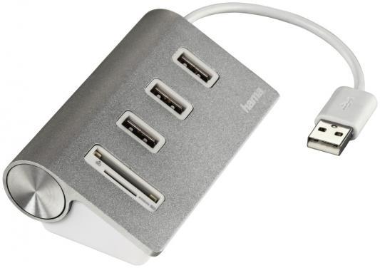 цена Концентратор USB 2.0 HAMA Kombi H-54142 3 x USB 2.0 серебристый
