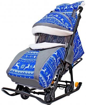 Санки-коляска Snow Galaxy LUXE Зимняя ночь Олени 6080 до 25 кг синий серый рисунок черный ткань металл