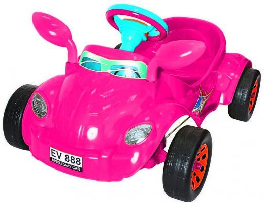 Машина педальная RT Молния с музыкальным рулем розовая