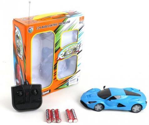 Машинка на радиоуправлении Shantou Gepai Super Racing пластик, металл от 3 лет голубой 4 канала, свет, 1:24