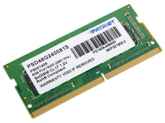 Оперативная память для ноутбука 8Gb (1x8Gb) PC4-19200 2400MHz DDR4 SO-DIMM CL17 Patriot PSD48G240081S zogaa new winter women s fashion woolen coat casual batwing sleeve overcoat 2018 new outware women loose cotton hoodies jacket
