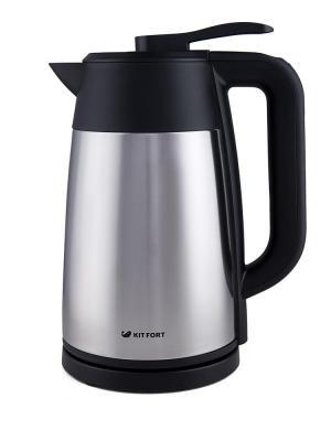 лучшая цена Чайник KITFORT КТ-620-2 2200 Вт серебристый чёрный 1.7 л нержавеющая сталь