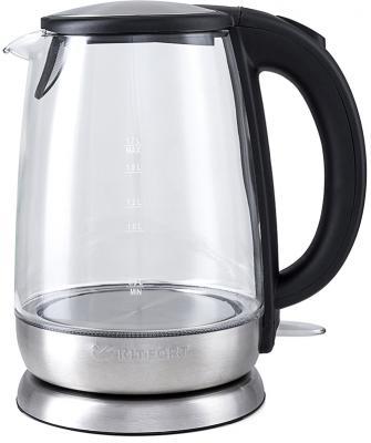 Чайник KITFORT KT-619 2200 Вт серебристый чёрный 1.7 л стекло чайник kitfort kt 620 1 2200 вт белый чёрный 1 7 л нержавеющая сталь