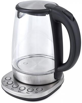 Чайник KITFORT КТ-618 2200 Вт серебристый чёрный 1.7 л стекло чайник starwind skg7650 2200 вт серебристый чёрный 1 7 л стекло