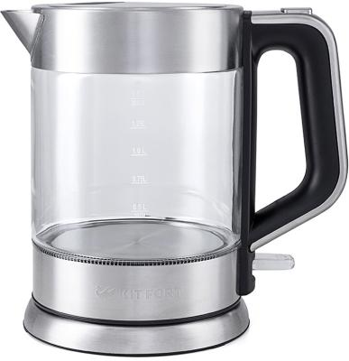 Чайник KITFORT KT-617 2200 Вт серебристый чёрный 1.5 л стекло