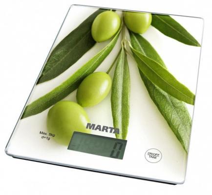 Весы кухонные Marta MT-1634 олива рисунок
