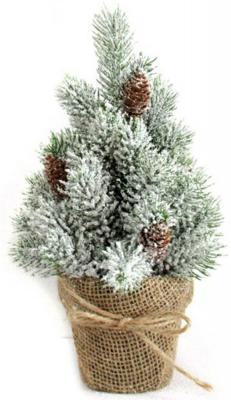 Ель Новогодняя сказка Декоративная елочка заснеженная с шишками зеленый 30.5 см