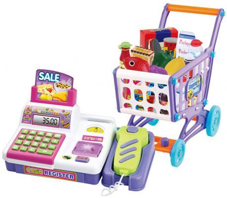 Игровой набор Shantou Gepai Кассовый аппарат c тележкой и набором аксессуаров. 30 предметов свет, звук