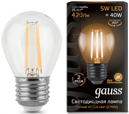 Лампа светодиодная филаментная Globe E27 5W 2700K шар прозрачный 1/10/50 105802105 лампа gauss 105202105 led filament globe opal e27 5w 2700k 1 10 50